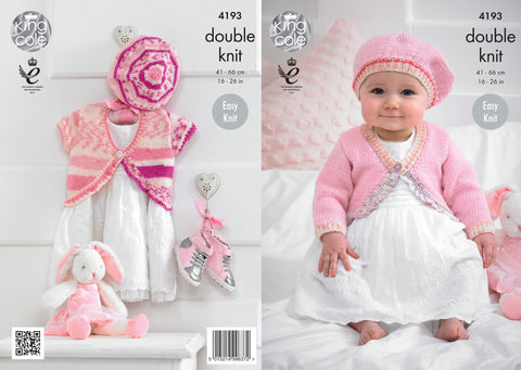 King Cole Baby Cardies and Beret DK Cherish and Cherished Pattern 4193
