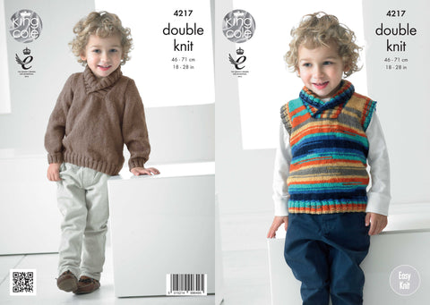 King Cole Kids Sweater and Slipover in Big Value Baby DK and Flash DK Pattern 4217