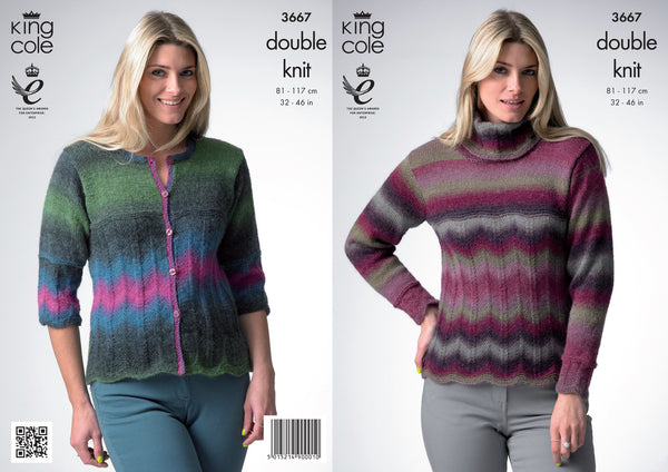 King Cole Sweater and Cardigan DK Riot Pattern 3667