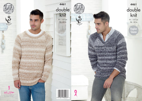 King Cole Men's Raglan Sleeve Sweaters DK Vogue  Pattern 4461