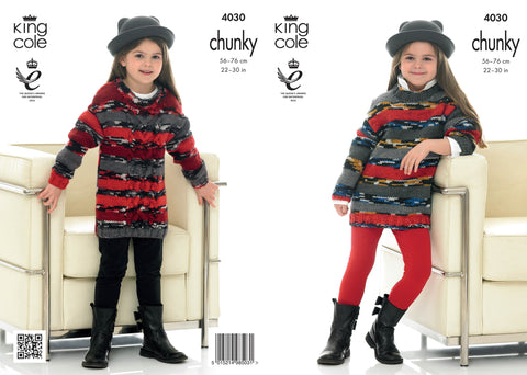 King Cole Girls' Sweater Dresses  Chunky Big Value Pattern 4030