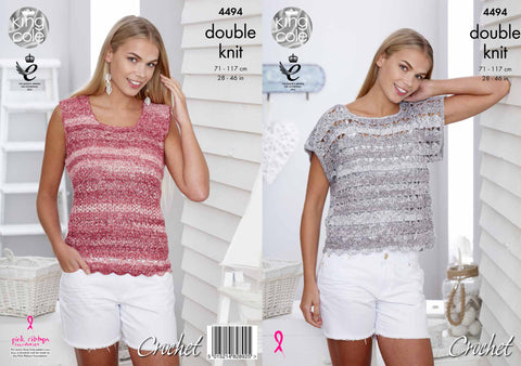 King Cole Womens T-Shirt and Vest Top DK Vogue Crochet Pattern 4494