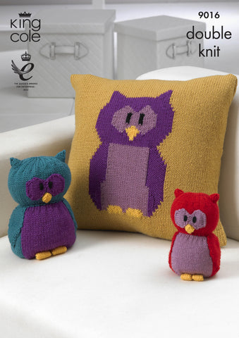 King Cole Owl Collection Knitted DK Merino Blend Pattern 9016