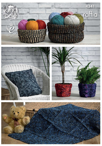 King Cole Baskets, Cushion, Pot Cover and Rug Raffia Pattern 4341