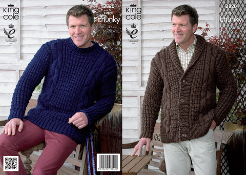 King Cole Men's Sweaters Super Chunky  Pattern 3820