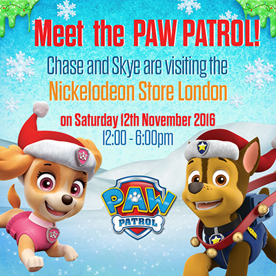 Meet PAW Patrol at the Nickelodeon Store London