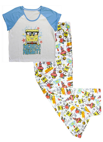 "SpongeBob SquarePants ""Nerdy Night"" 2pc PJ Set - Ladies"