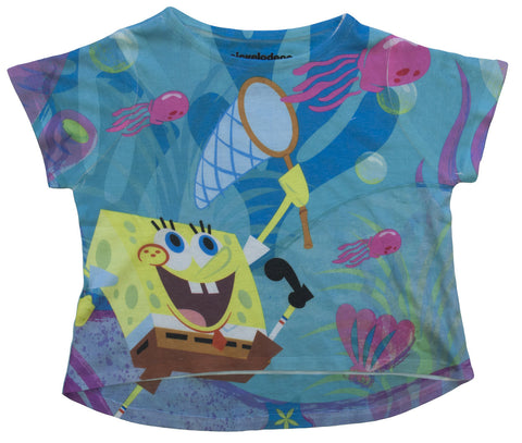 SpongeBob SquarePants Beachy Crop Tee - Girls
