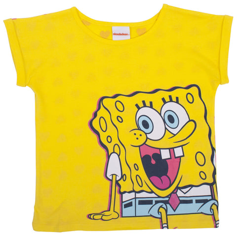 SpongeBob Squrepants Big Rolled Sleeve Tee - Tween