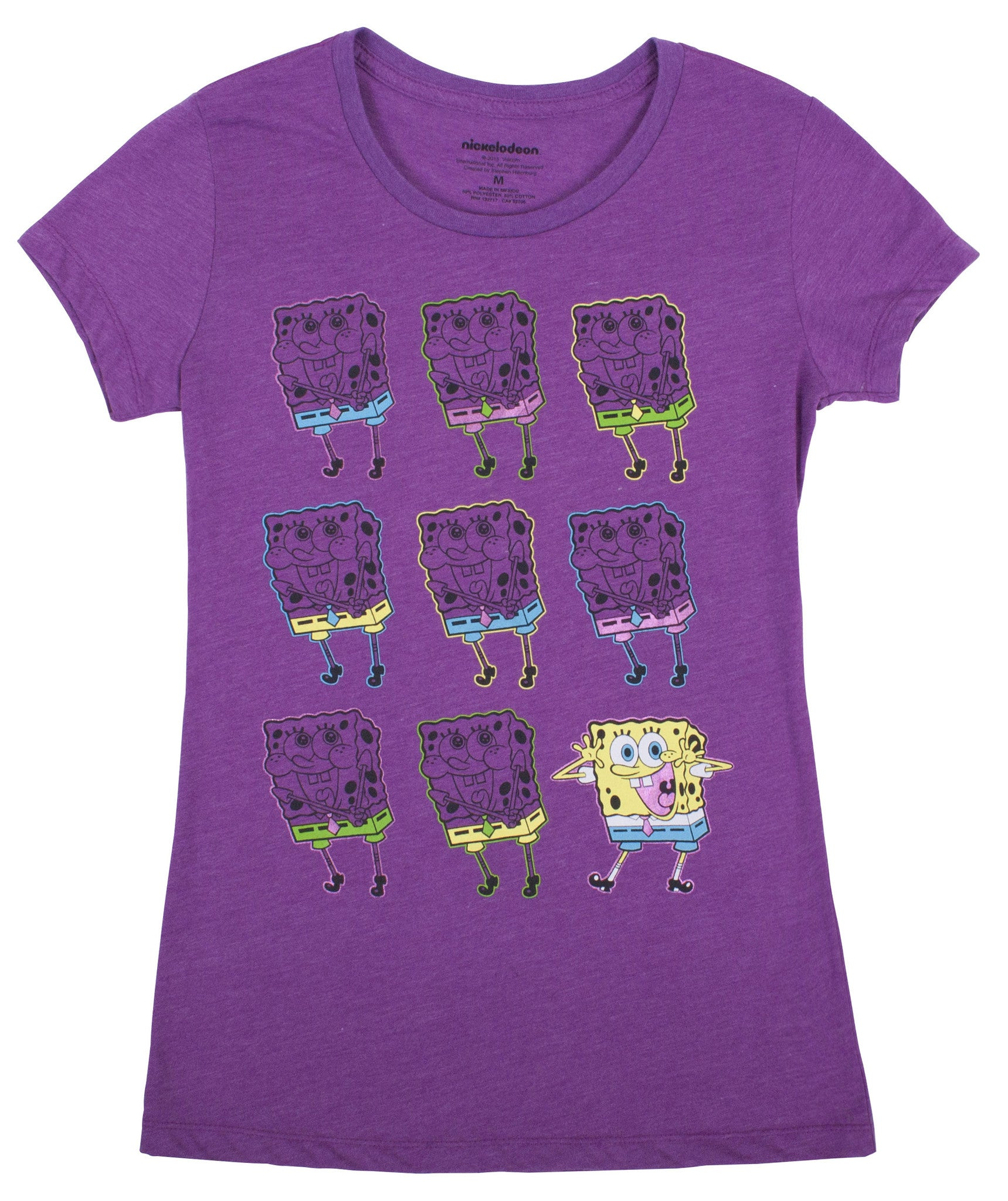 "SpongeBob ""Rows Of Bobs"" Crew Neck Tee - Junior - nickelodeonstore.co.uk"