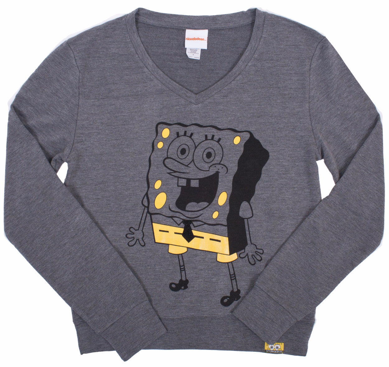 SpongeBob SquarePants Monochrome L/S V-Neck Charcoal - Junior