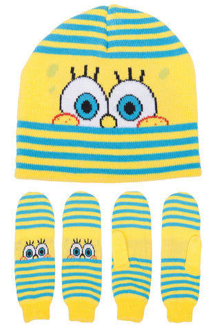 SpongeBob SquarePants Peeking Hat & Mitten Set - Youth