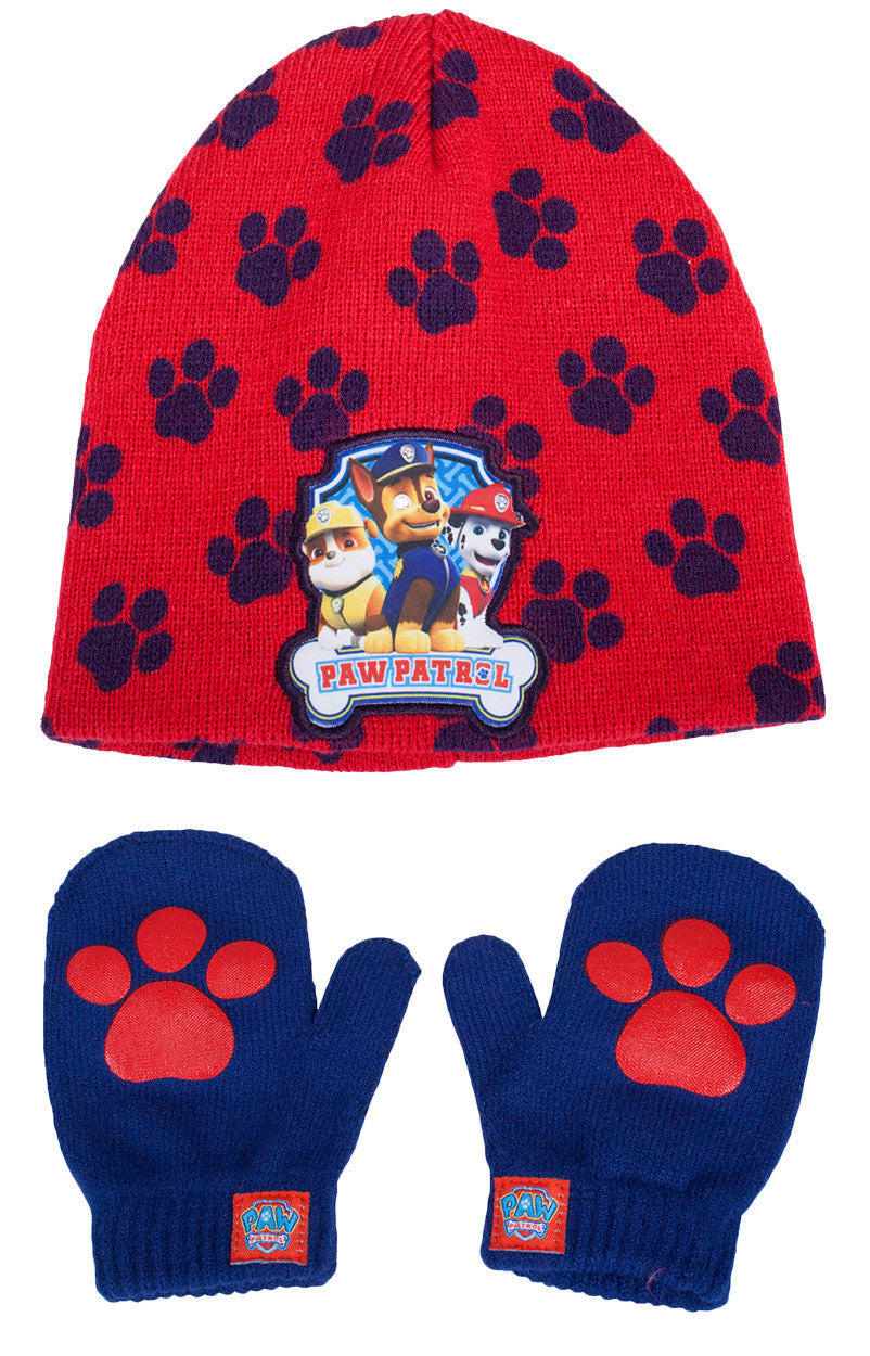 Paw Patrol Multi Character Knit Hat & Mittens Set - Toddler - nickelodeonstore.co.uk