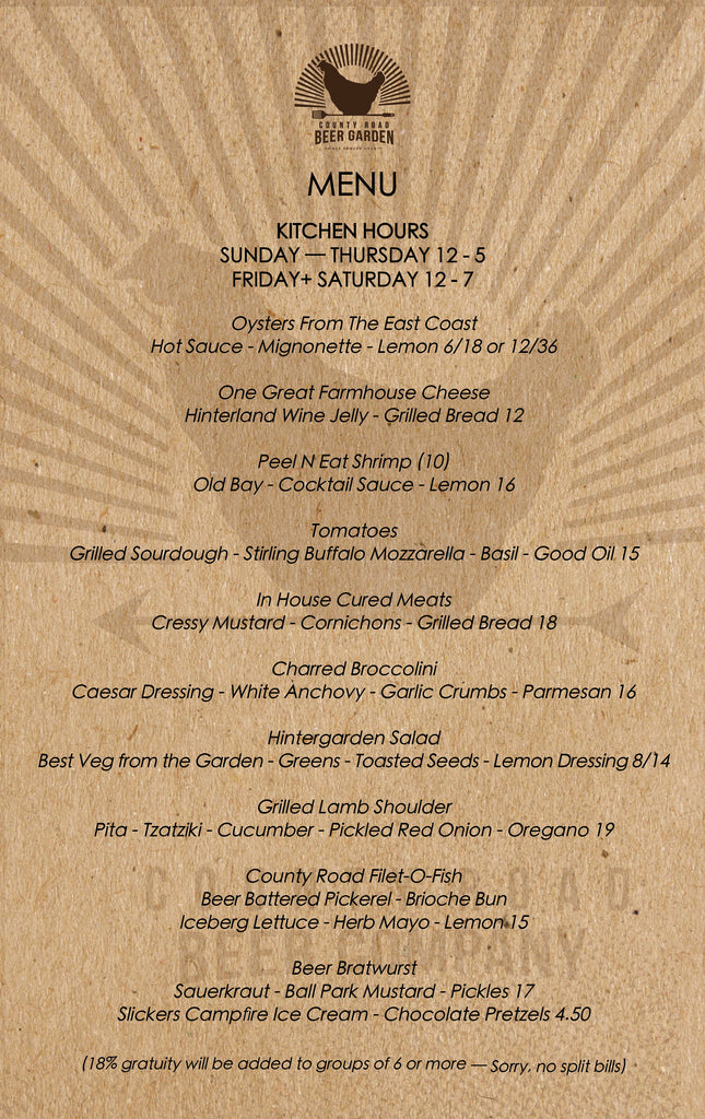County Road Beer Garden Menu - as of July 7