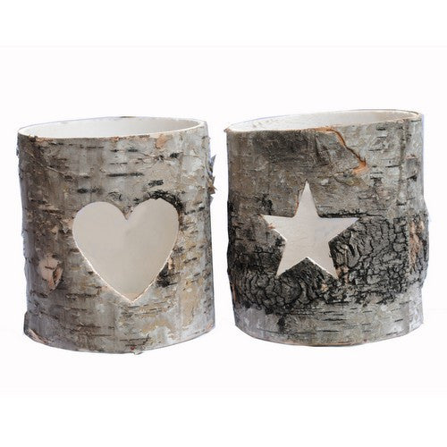 Set of 2 Bark Tea Light Holders
