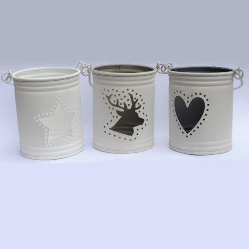 White Bucket Tea Light Holders