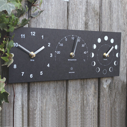 Eco Recycled Moon, Thermometer and Time Clock