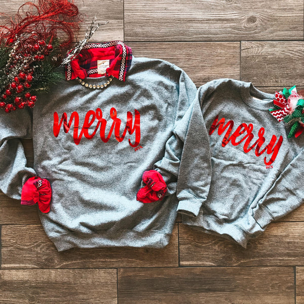 Gold Foil Merry Sweatshirt - Youth