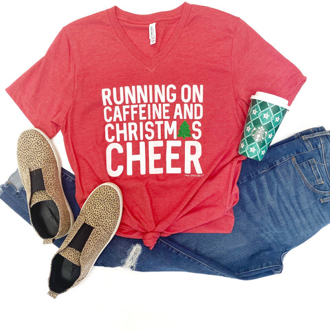 Running On Caffeine & Christmas Cheer Tee - PRE-ORDER