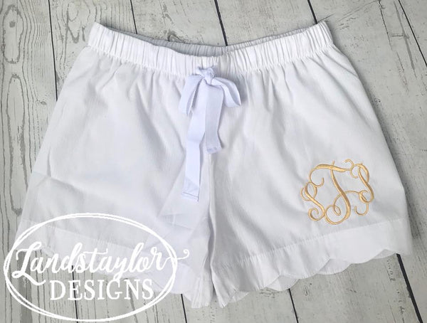 Straight Hem Seersucker Shorts