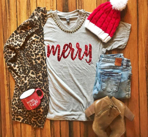 Red Gold Foil Merry Shirt