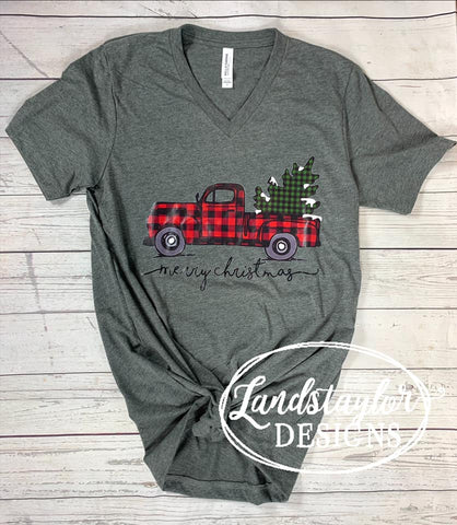Merry Christmas Plaid Truck