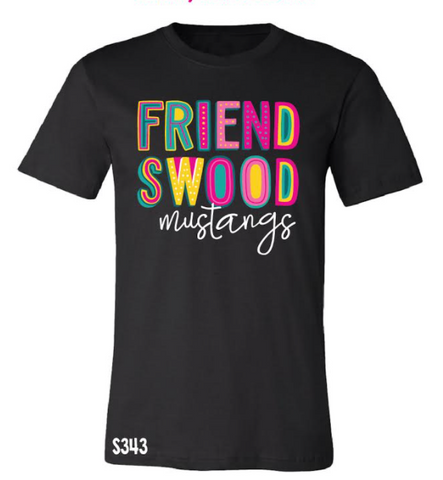 Friendswood Mustangs Colorful Spirit Tee
