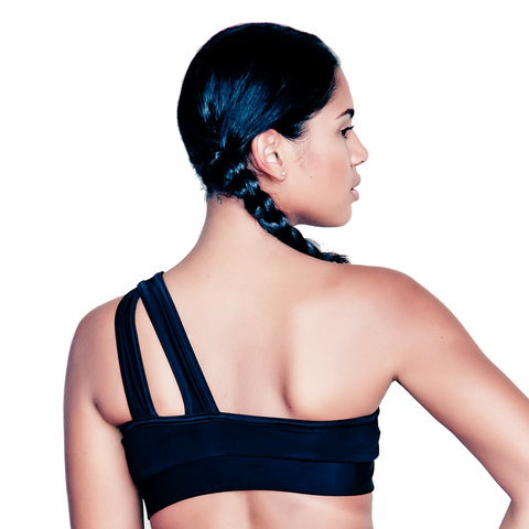 Black Asymmetric Sports Bra