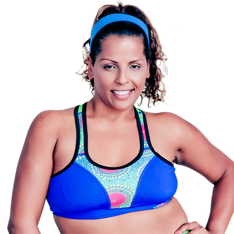 Curvalicious Blue with Green Print Racerback Sports Bra