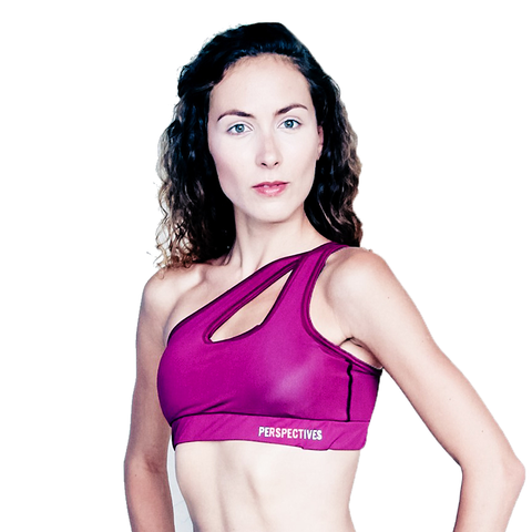 Burgundy Asymmetric Sports Bra
