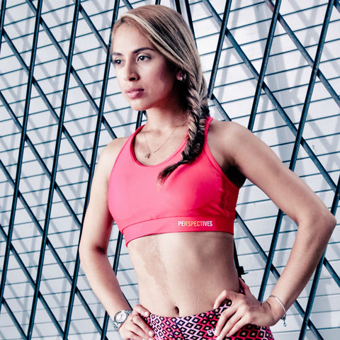 Pink Racerback Sports Bra with Mesh Detail