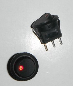 Round 19mm Two Position LED Illuminated Red Dot Switch