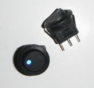 Round 19mm Two Position LED Illuminated Blue Dot Switch