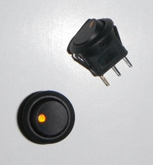 Round 19mm Two Position LED Illuminated Amber Dot Switch