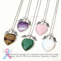 Crystal Heart Necklace w/ Angel Wings - Your choice of crystal type