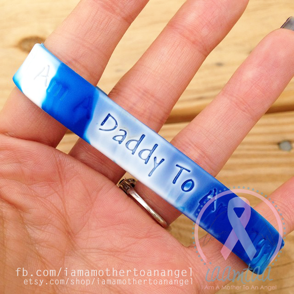 Wristband - I Am A Daddy To An Angel - Blue/White Swirl
