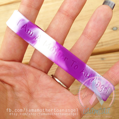 Wristband - I Am A Mother To An Angel - Purple/White