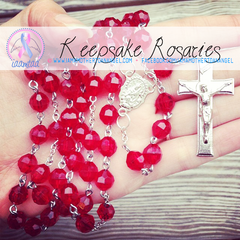 Handmade Keepsake Rosary - Red