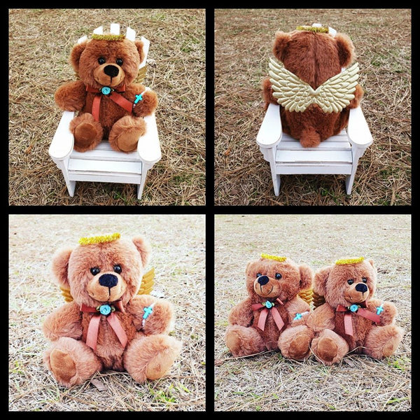 Brown RememBEAR, Gold Wings & Halo, Your choice of accent color - Approx 6 inch