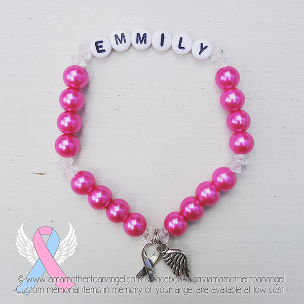 Hot Pink - Crystal Accents - Personalized Bracelet w/ Angel Wing & Awareness Ribbon Charm