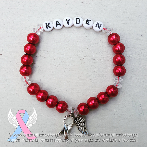 Red Pearls - Crystal Accents - Personalized Bracelet w/ Angel Wing & Awareness Ribbon Charm
