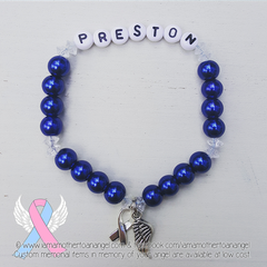 Royal Blue - Crystal Accents - Personalized Bracelet w/ Angel Wing & Awareness Ribbon Charm