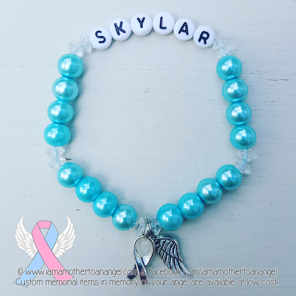 Sky Blue - Crystal Accents - Personalized Bracelet w/ Angel Wing & Awareness Ribbon Charm