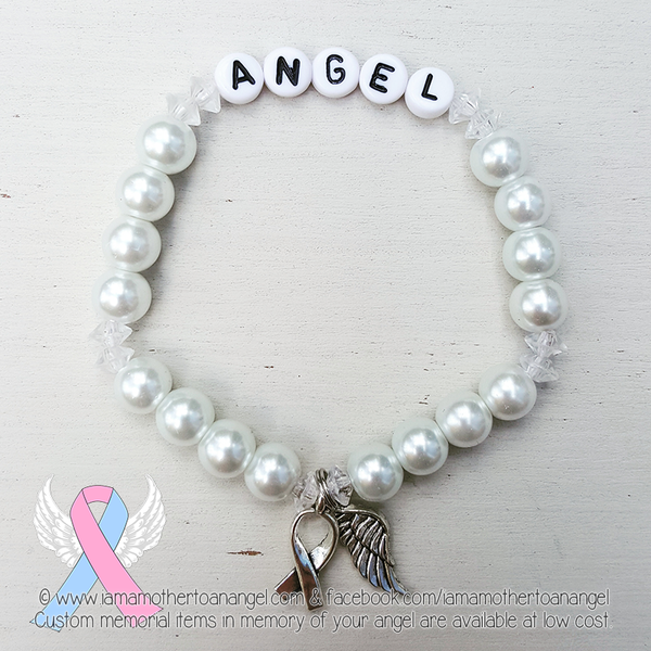 White Pearls - Crystal Accents - Personalized Bracelet w/ Angel Wing & Awareness Ribbon Charm