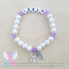 White Pearls - Purple Accents - Personalized Bracelet w/ Angel Wing & Awareness Ribbon Charm