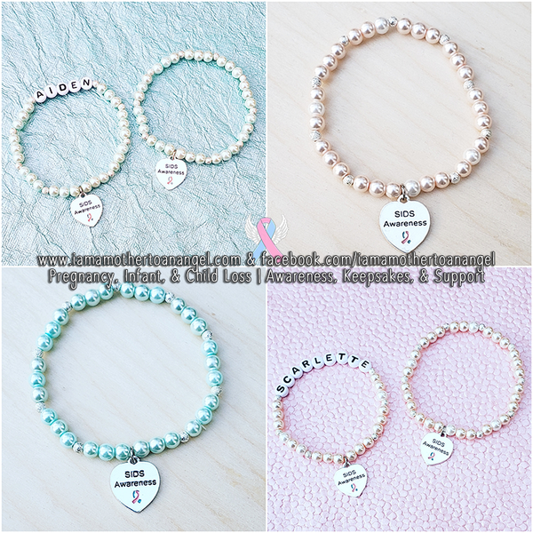 SIDS Awareness Pearl Bracelet - Personalization Available