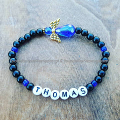 Royal Blue - Black Pearl Angel Bracelet