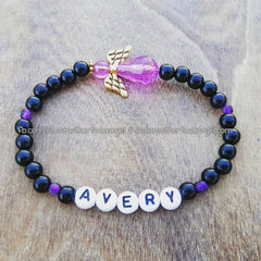 Purple - Black Pearl Angel Bracelet