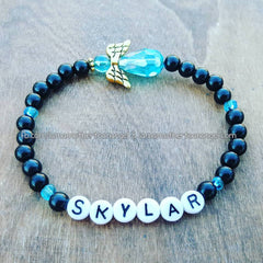Sky Blue - Black Pearl Angel Bracelet