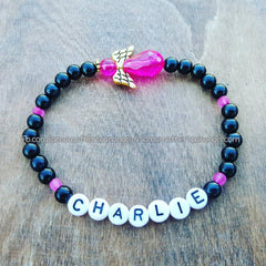 Hot Pink - Black Pearl Angel Bracelet